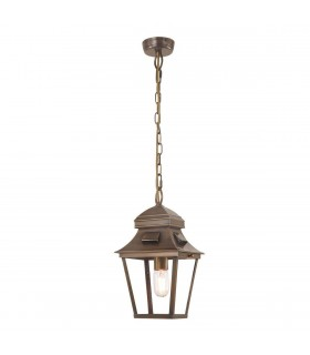 1 Light Outdoor Ceiling Chain Lantern Brass IP44