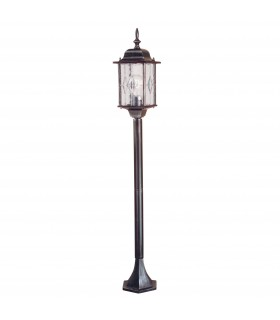 1 Light Outdoor Bollard Lantern Black Silver IP43