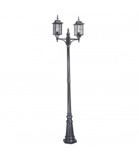 2 Light Outdoor Lamp Post Black Silver IP43