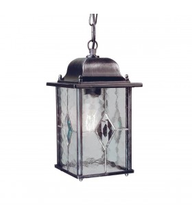1 Light Outdoor Ceiling Chain Lantern Black Silver IP43