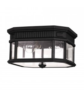 2 Light Outdoor Flush Ceiling Light Black IP44