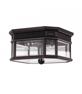 2 Light Outdoor Flush Ceiling Light Grecian Bronze IP44, E27