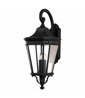 3 Light Outdoor Large Wall Lantern Black IP44, E14