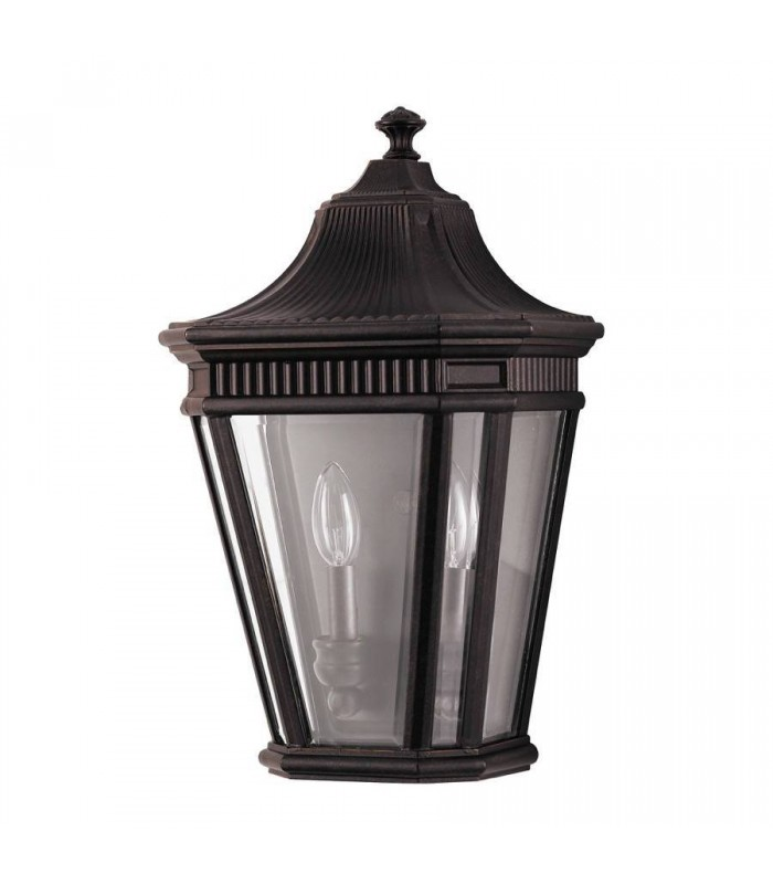 2 Light Outdoor Wall Half Lantern Light Grecian Bronze IP44, E14
