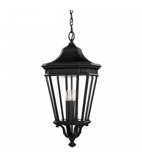 3 Light Large Outdoor Ceiling Chain Lantern Black