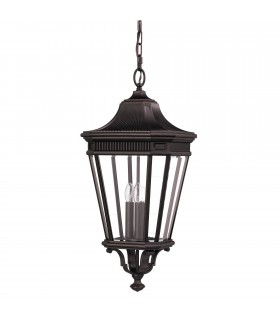 3 Light Large Outdoor Ceiling Chain Lantern Grecian Bronze, E14