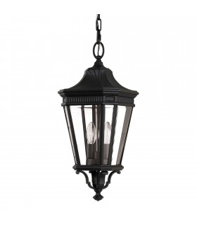 2 Light Medium Outdoor Ceiling Chain Lantern Black