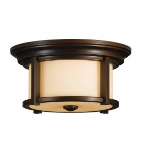 2 Light Outdoor Flush Mount Ceiling Light Heritage Bronze IP44, E27