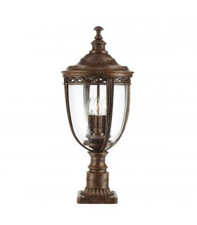3 Light Large Outdoor Pedestal Light British Bronze IP44, E14