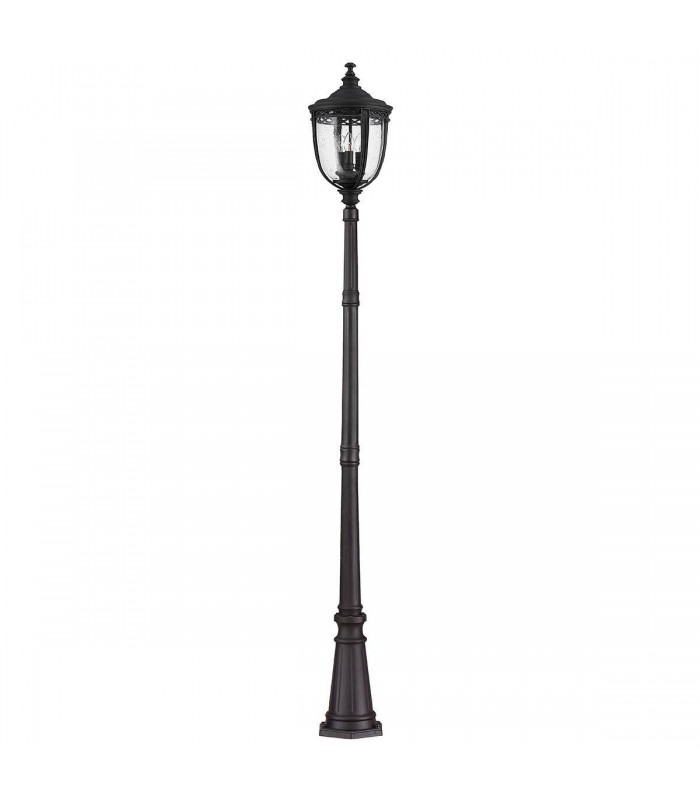 3 Light Large Outdoor Lamp Post Black IP44, E14