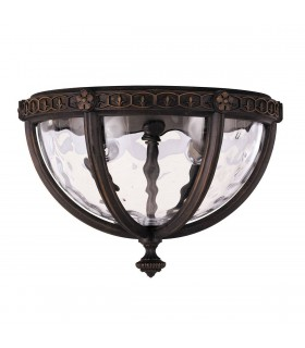 2 Light Outdoor Flush Ceiling Lantern Walnut IP44, E14