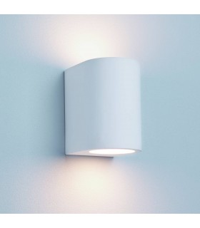 G9 White Curved Cylinder Plaster Wall Light