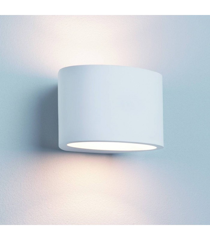 1 Light Up & Down Wall Light Paintable Oval White Plaster
