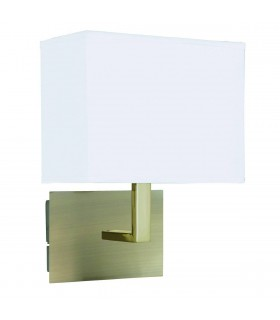 1 Light Indoor Wall Light Antique Brass with White Rectangular Shade, E27
