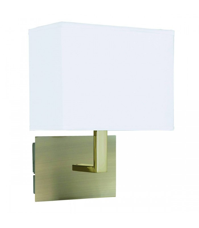 1 Light Indoor Wall Light Antique Brass with White Rectangular Shade