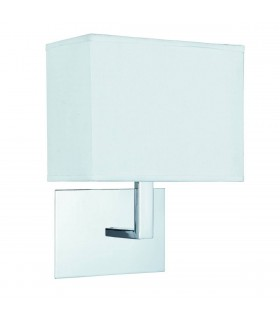 1 Light Indoor Wall Light Chrome with White Rectangular Shade