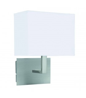 1 Light Indoor Wall Light Satin Silver with White Shade, E27