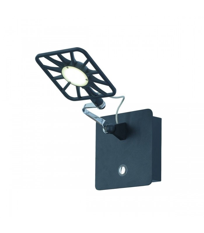 Black Chrome LED Adjustable Square Wall Light