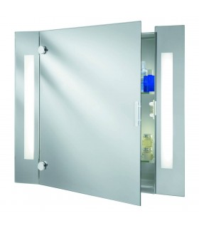 2 Light Illuminated Bathroom Mirror Cabinet with Shaver Socket IP44