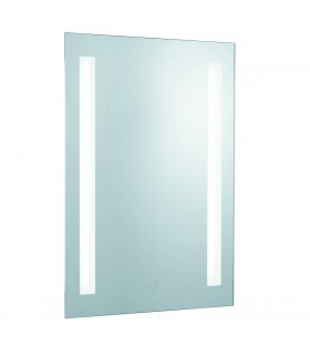 2 Light Illuminated Bathroom Mirror Touch Light Silver with Shaver Socket IP44