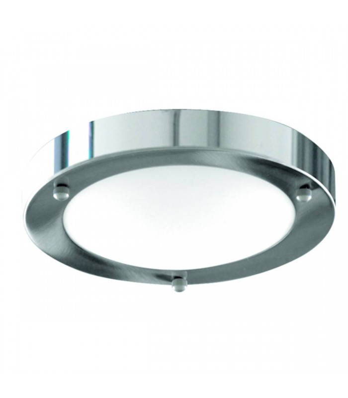 Chrome Flush Ceiling Light Fixture With Domed Glass Diffuser