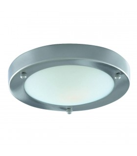 1 Light Bathroom Flush Ceiling Light Satin Silver Round with Domed Glass Diffuser IP44, E27