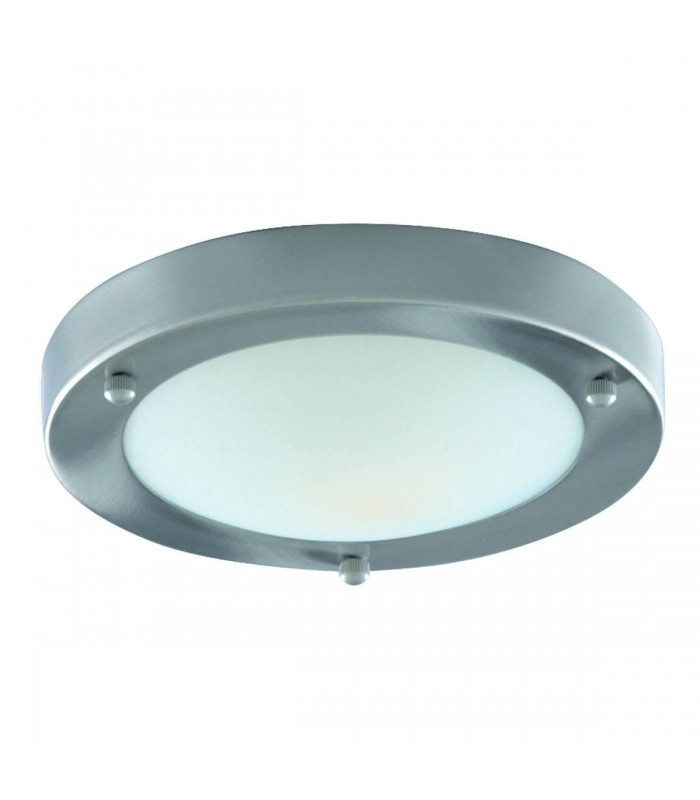 Satin Silver Flush Ceiling Light Fixture With Domed Glass Diffuser