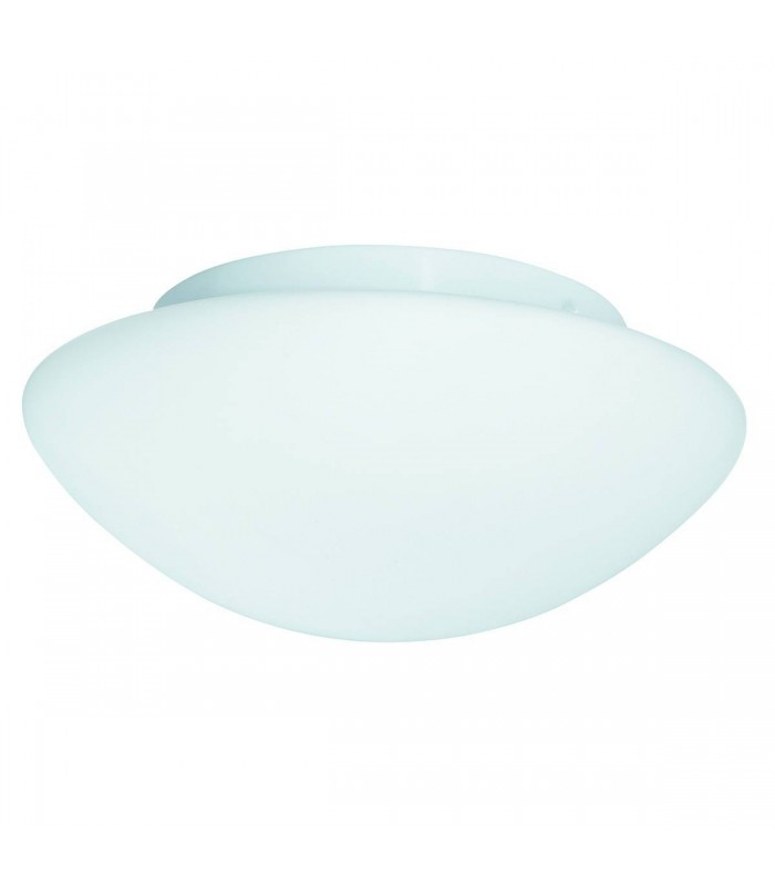 1 Light Bathroom Flush Ceiling Light White with Opal Glass IP44