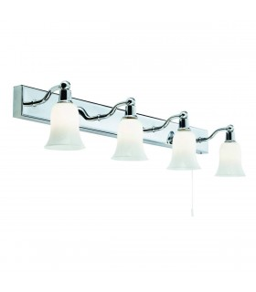 Chrome 4 Light LED Wall Light Bar with Glass Shades- Searchlight 2934-4CC-LED