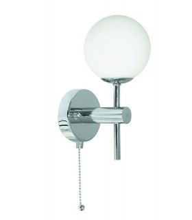 Globe Chrome Wall Light with Opal Glass Shade - Searchlight 4337-1-LED