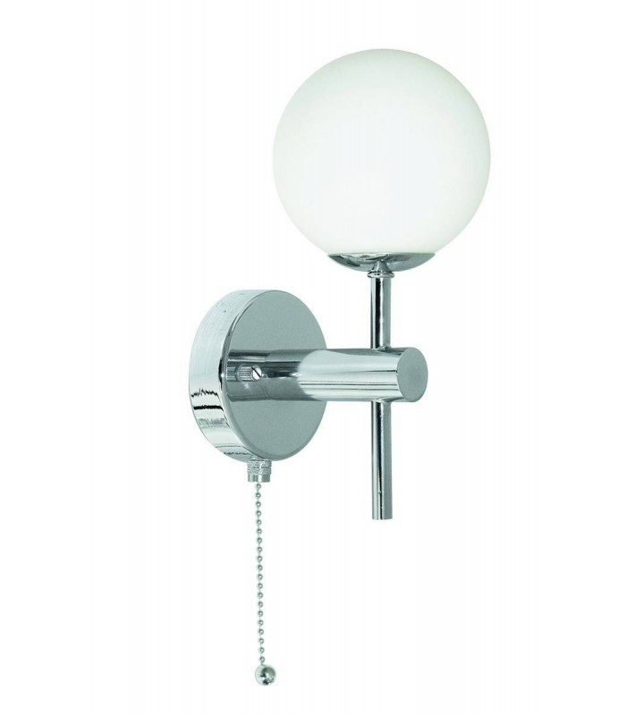 LED 1 Light Bathroom Wall Light Chrome with Opal Glass Shade IP44