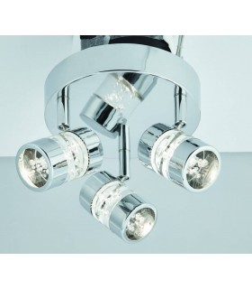 LED 3 Light Bathroom Ceiling Spotlight Chrome, Acrylic IP44