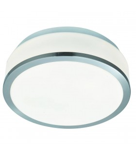 Bathroom Flush 2 Light Ceiling Satin Silver, Opal IP44, E27