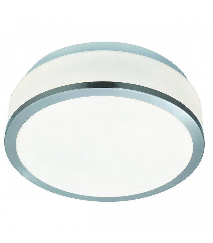 Satin Silver & Opal 2 Light 28cm Flush Bathroom Ceiling Fixture - Searchlight 7039-28SS