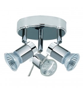 3 Light Adjustable Bathroom Ceiling Spotlight Satin Silver, Chrome IP44, GU10