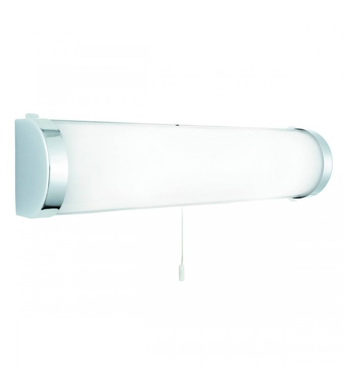 2 Light Bathroom Over Mirror Light Chrome with White Glass Diffuser IP44