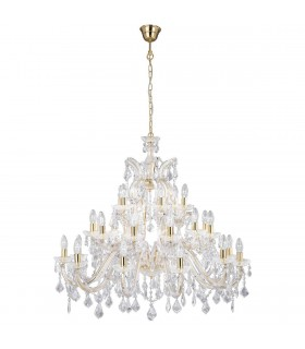 30 Light Crystal Chandelier Polished Brass Finish