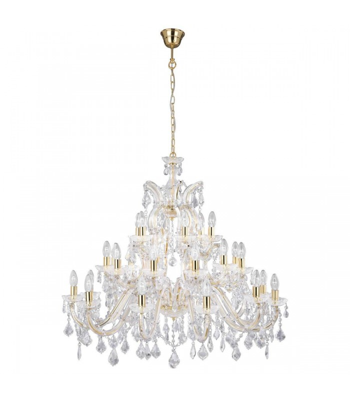 Brass 30 Light Chandelier With Crystal Decoration