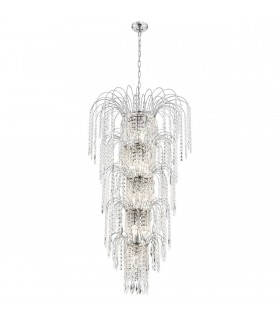 Waterfall Chrome 13 Light Tiered Chandelier with Crystal Decoration - Searchlight 1313-13CC