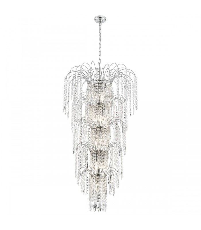 Chrome 13 Light Tiered Chandelier With Crystal Decoration
