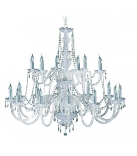 Hale Chrome 18 Light Chandelier with Crystal Decoration - Searchlight 17218-18