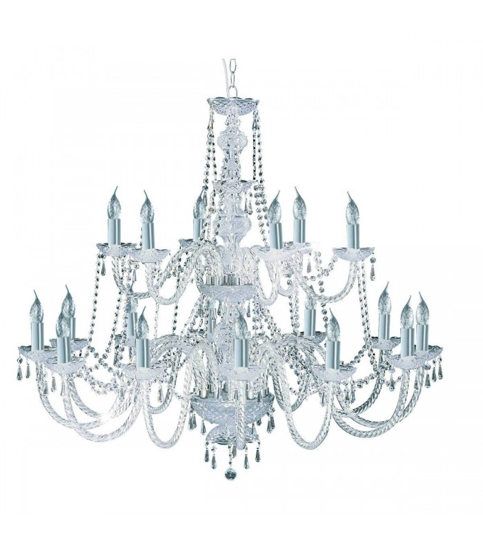 Chrome 18 Light Chandelier With Crystal Decoration