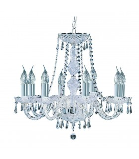 Hale Chrome 8 Light Chandelier with Crystal Decoration - Searchlight 218-8