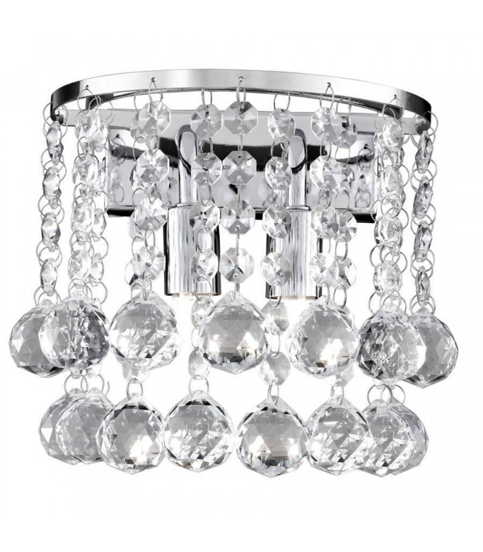 2 Light Indoor Wall Light Chrome with Crystals
