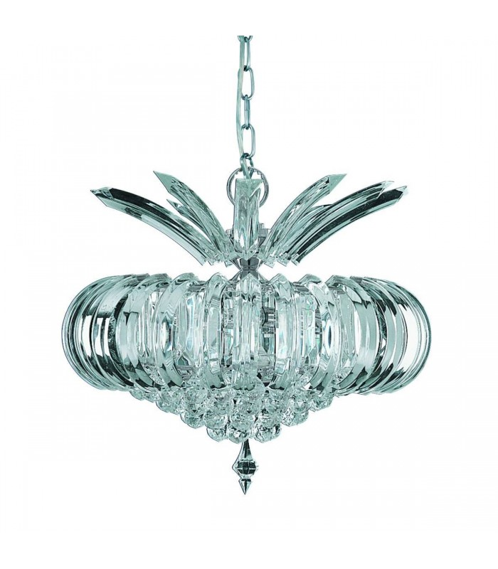 Chrome 5 Light Ceiling Pendant With Crystal Decoration