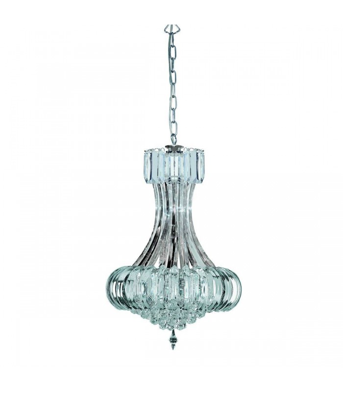 6 Light Chrome Ceiling Chandelier With Crystal Decoration