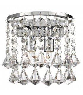 2 Light Indoor Wall Light Chrome with Crystals, G9