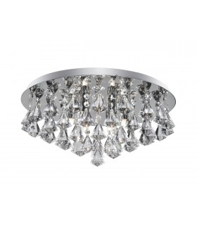6 Light Ceiling Semi Flush Light Chrome with Crystals