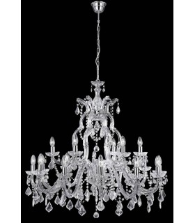 18 Light Crystal Chandelier Chrome Finish
