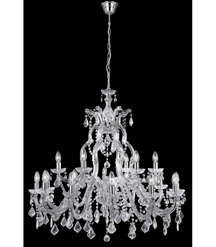 Marie Therese Chrome 18 Light Chandelier with Crystal Decoration - Searchlight 3314-18